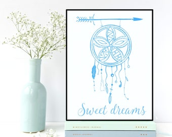 Dreamcatcher poster, Nursery wall art, Kids room decor, Children poster, Nursery quote, Nursery decor, Bedroom decor, Illustration print