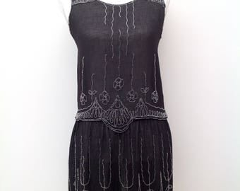 1920s beaded flapper dress top skirt Art Deco vintage antique