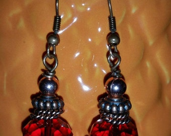 1 PAIR Copper and Facets PIERCED EARRINGS
