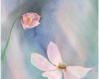 Peinture originale aquarelle fleurs paysage de fleurs art floral anémones blanc et bleu