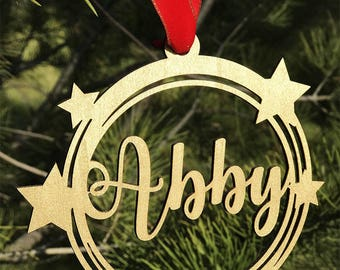 Personalized Christmas Ornament ,Name Ornament,Gold,Silver,bauble,star
