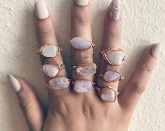 Raw Amethyst Rose Gold Crystal Ring rose gold Amethyst crystal Amethyst Rose Gold Genuine Amethyst