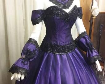 Free shipping, Venice ball gown,  Steampunk dress, Gothic wedding dress, victorian gown, purple ballgown, Halloween gown, vampire dress