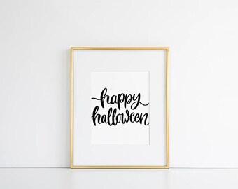 Happy Halloween Print // Halloween Decor, Autumn Decor, Fall Decor, Autumn Wall Art, October Art, Halloween Poster, Fall Decoration