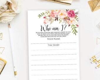 Who am I Bridal Shower game Printable bachelorette party memory game card Instant download pdf jpeg digital files