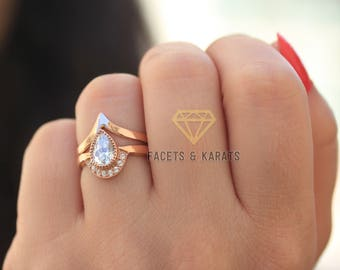unique pear shaped engagement ring boho bridal ring set v shaped chevron wedding band in solid - Pear Shaped Wedding Ring