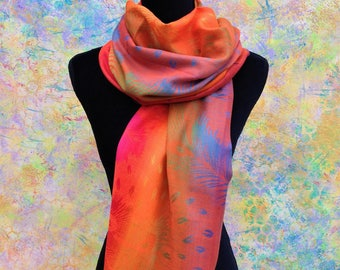 Pashmina Scarf Rainbow Orange Pink Neon, Shawl and Wraps, Gift For Her, Valentine Gift for her,Women Accessories