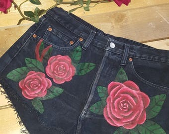 Handpainted Vintage Levi Shorts With Rose Detail