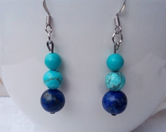 Earrings in Turquoise and Lapis Lazuli stones