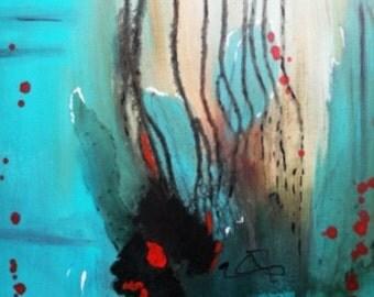 Acrylic, turquoise, abstract