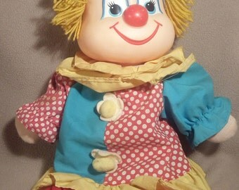 1984 Dakin Cheery / Teary Clown Doll -- Happy Face on one side, Sad Face on the other