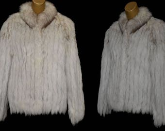 Vintage Silver Fox Fur Jacket Coat by Saga Furs, Size M Medium