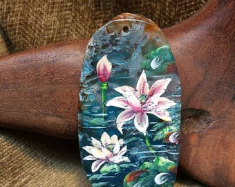 Pond Water Lilies Hand Painted on Blue Agate Slice