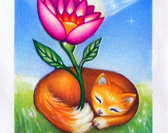 """Fox with Flower Colored Pencil Drawing/Painting  oziskin fantasy original art 4""""x6"""" SFA Postcard Size Small Format"""