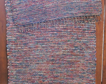 "Hand Woven Rag Rug - Two-Weft Blue Cotton Runner 28"" x 62"""