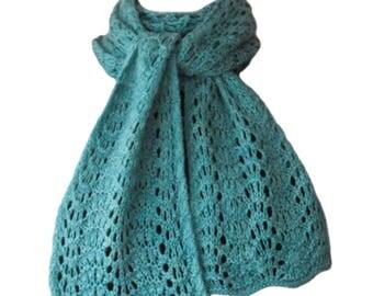 Knit Scarf - Jade Green Sweet Georgia Silk Cashmere Feather & Fan