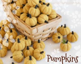 "Little Felt Pumpkins - Size, Approx. 1.5"" - Orange Mini Pumpkins - White Little Pumpkins - Cute Wool Felt Pumpkins - Yellow Mini Pumpkins"