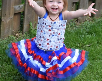 Red white and blue tulle ribbon trim tutu two piece  infant toddler and girls two piece 4th of July