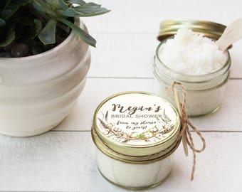 4 oz - Sugar Scrub Favors - All-Natural - Cotton Label Design | Fall Bridal Shower Favor | Fall Baby Shower Favor | Party Favor - set of 12