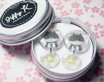 Hand drawn shrink plastic jewelry - LITTLE K The Missing Cats Dangling Earrings {Ready to Dispatch}