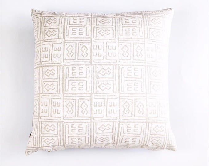 READY TO SHIP Hand Block Printed Tribal African Linen Pillow Cover 20x20