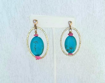 Blue and Pink Earrings, Blue Stone Earrings, Pink Stone Earrings, Magnesite Earrings, Hammered Earrings, Dangle Earrings Gold and Blue, Gift