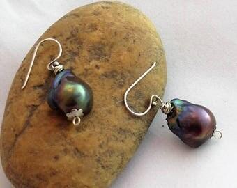 Rainbow blue fresh water pearls on silver wire earrings
