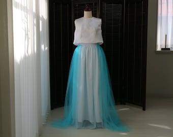 Sky blue floor length tulle skirt,wedding tulle skirt,bridal tulle skirt,romantic wedding dress,simple wedding dress,wedding separates skirt
