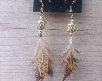 Buddha Feather Earrings, Lady Buddha Earrings, Feather Earrings, Dangly Earrings, Boho Earrings, Hippie Earrings, Spiritual Earrings - 00302