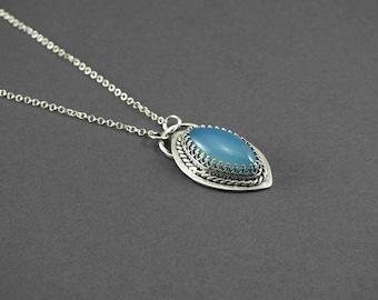 Artisan jewelry, Layering jewelry, blue pendant, one of a kind, boho jewelry, stone pendant, silver stone pendant, chalcedony pendant