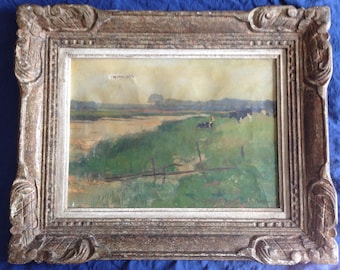 Signed Old Oil Painting French pasture landscape with Frame