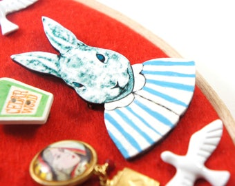 Rabbit Brooch, Statement Lapel Pin, Easter Gift, Bunny Brooch, Animal Pin, Rabbit Jewelry, Animal Lover Gift, Easter Bunny, NotAliceBoutique