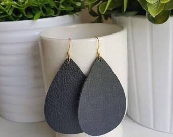 Black Vegan Leather Earrings | Faux Leather Earrings| Lightweight Earrings | Leather Tear Drop Earrings