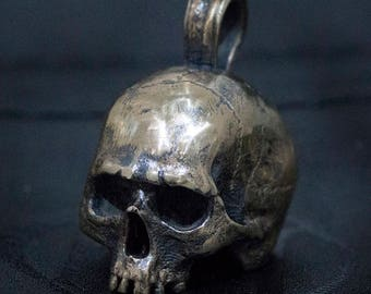 Bronze Half Skull Pendant, Necklace, with Rustic Finish