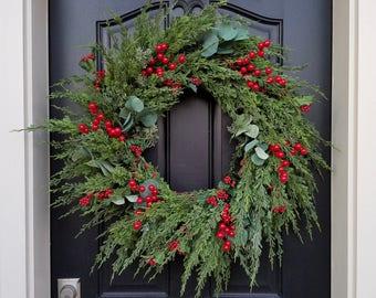 CHRISTMAS PINE WREATH, Christmas Wreaths, Holiday Wreaths, Winter Pine Wreath, Eucalyptus, Berries and Pine Wreath, Artificial Pine