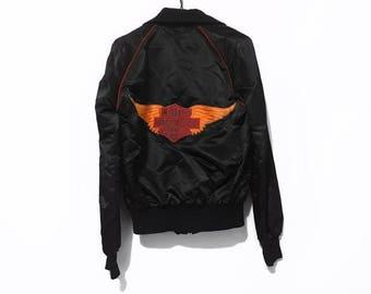Vintage Harley Davidson Embroidered Patched Satin Bomber Jacket