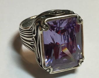 Silpada Sterling Silver Ring Lavender Fields Purple CZ Size 10