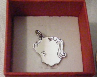 Vintage Sterling, Girl with ponytail Silhouette Charm or Pendant