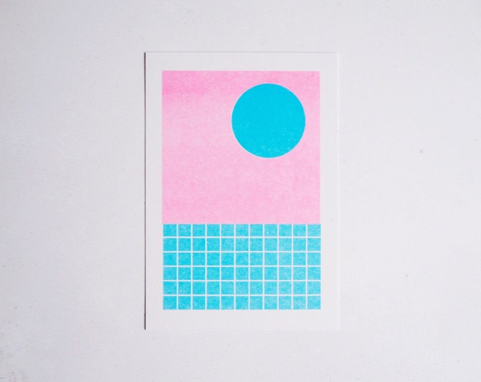 Sunset Poolside - Mini pattern print - Risograph print A6