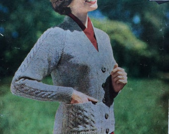 "vintage knitting pattern 1950's Wendy 833 Lady's cardigan with cables 34-48"" DK"