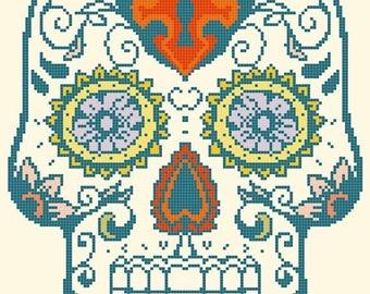 On SALE Sugar Skull - pop art - 122 x 167 stitches - Cross Stitch Pattern Pdf - INSTANT Download - B1383