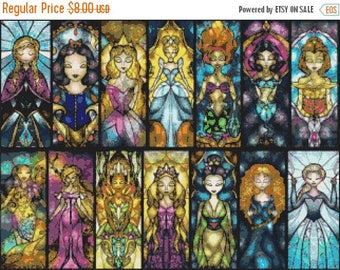 princesses Cross Stitch Pattern princesses pattern stained cross stitch disney -322 x 238 stitches- INSTANT Download - B1509