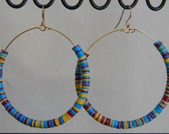 Hoop earrings with african vinyl discs, beach boho, summer jewelry, festival chic, trendy jewelry, bohemian style, colorful hoop earrings