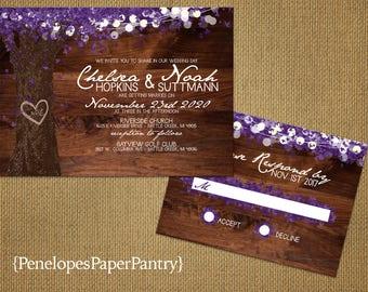 Rustic Fall Wedding Invitation,Oak Tree,Purple Fall Leaves,Carved Heart,Carved Initials,Fairy Lights,Barn Wood,Romantic,Printed Invitations