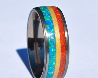 fire and ice ring   opal wood ring   titanium wood ring   bentwood ring   titanium rings   patriotic ring   red white and blue