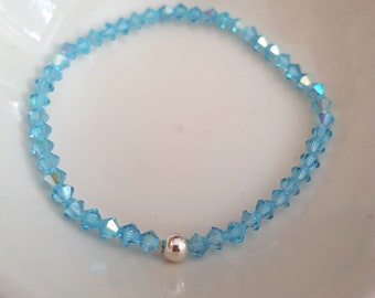 Aqua Blue Swarovski crystal stretch bracelet Sterling Silver or Gold Fill bead