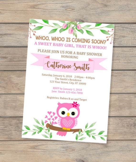 Pink owl baby shower invitation baby girl owl invitation cute baby il570xn filmwisefo