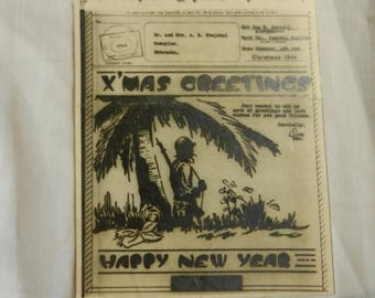 Summer Sale Vintage WW2 X Mas Greetings from the South Pacific 1944 V Mail Card