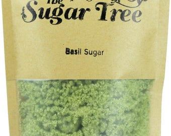 Basil Sugar Crystals - Naturally Flavoured Basil Sugar - Basil Sugar - Flavoured Sugar - Gourmet Sugar