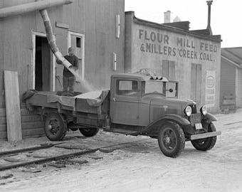 Grain Delivery Truck, 1937. Vintage Photo Reproduction Print. 8x10 Black & White Photograph. Rural, Farm, Farmer, Iowa, 1930s, 30s.